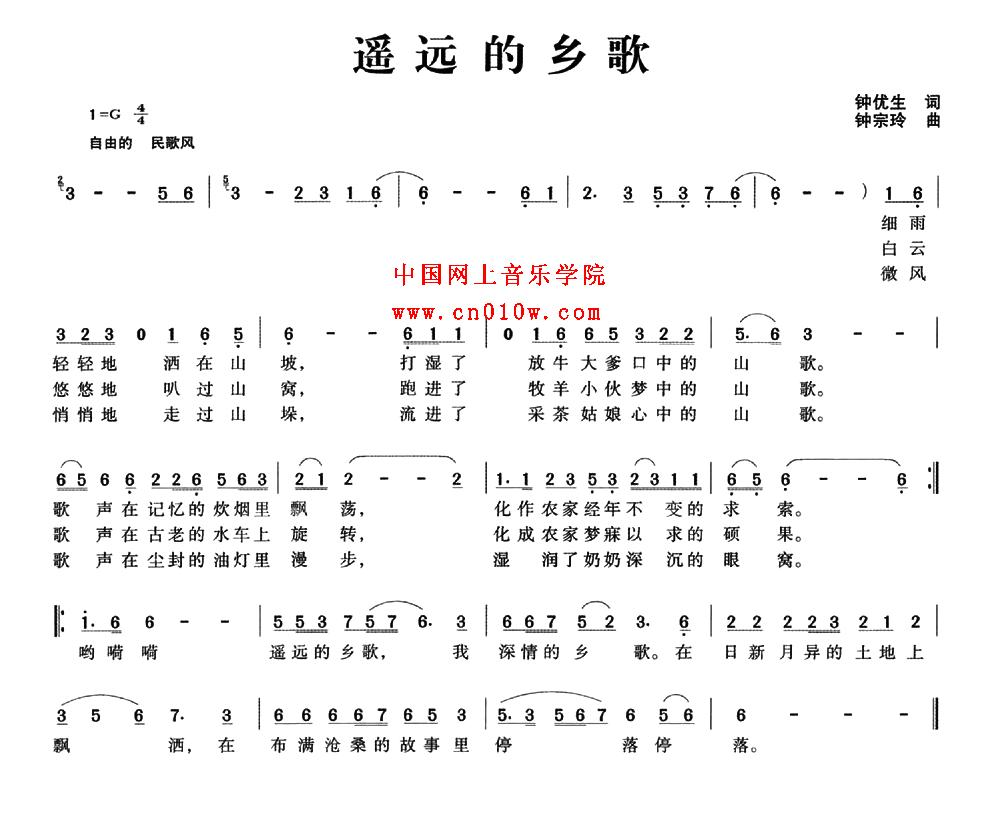 中国知青之歌简谱歌谱-民歌曲谱 遥远的乡歌