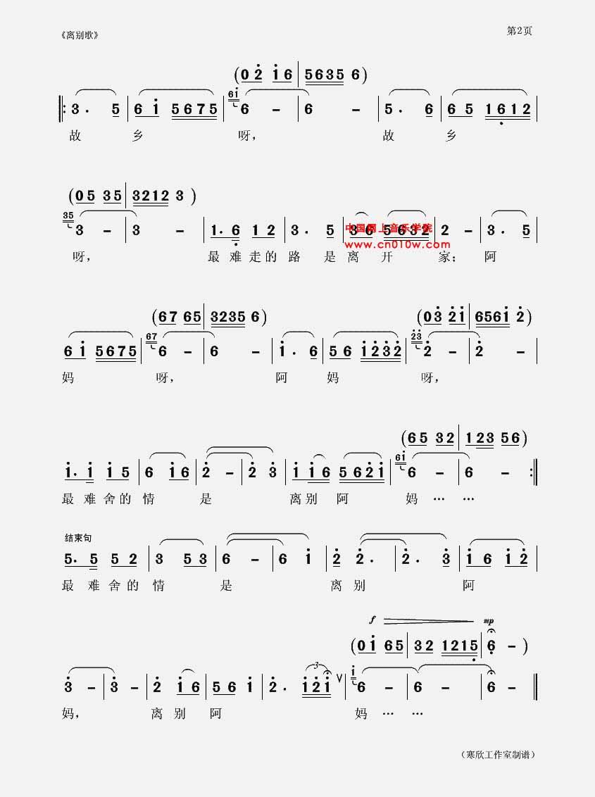 送别 电子琴简谱歌谱
