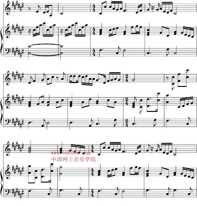 钢琴曲谱春天的故事二
