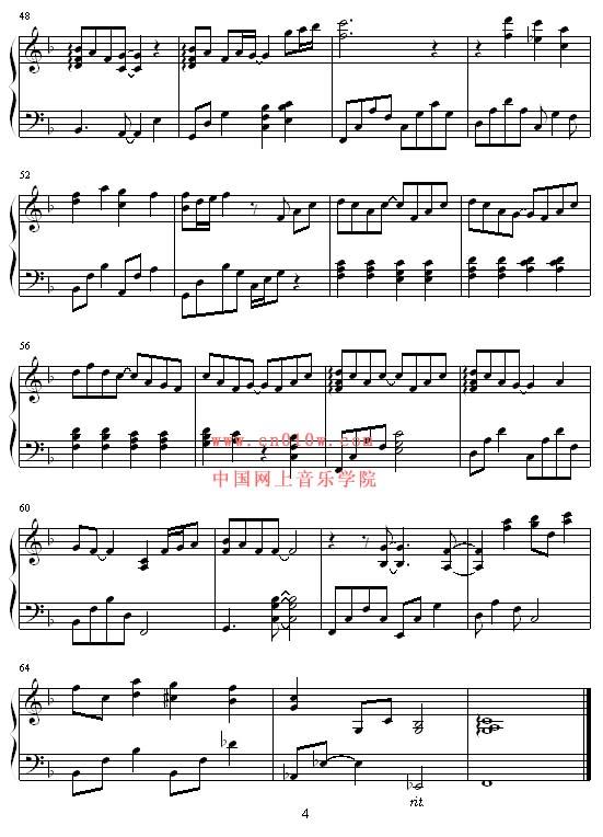 钢琴曲谱一首简单的歌三