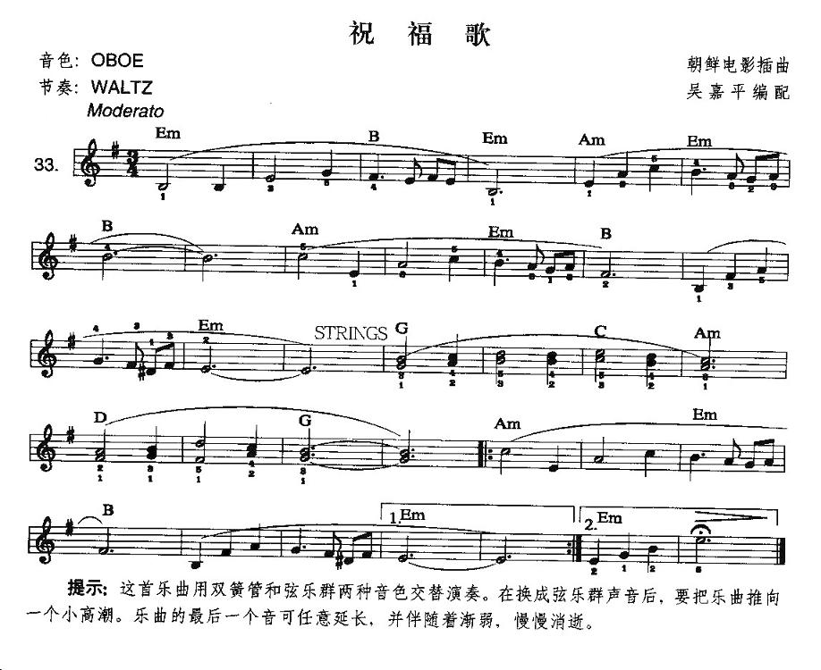 电子琴谱 祝福歌